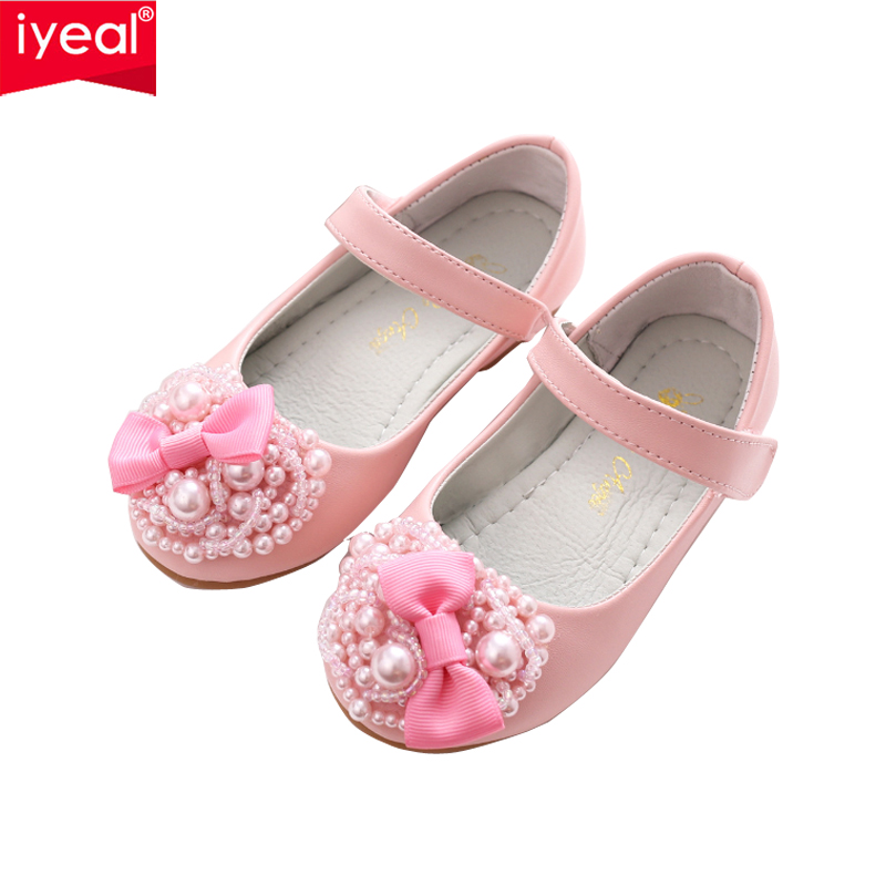 IYEAL New Fashion Children Baby Girls Princess Shoes With Pearls Bow Kids Wedding Party Dress Shoes for Girls Pink / White