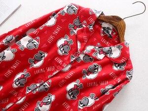 Image 5 - Pijama de algodón cepillado para mujer, 100% de oveja, cálido, sexy, rojo, talla grande