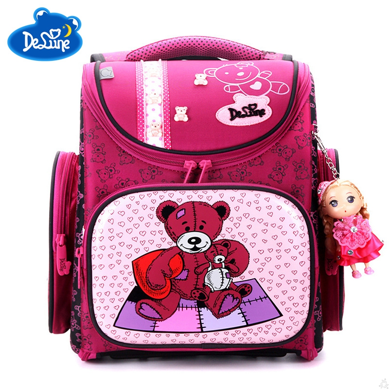 Delune Orthopedic Schoolbag Girls Backpacks for School Kids Rugzak Children Rucksack Cartoon Bag Bear Knapsack Mochila Escolar