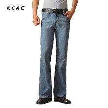 High Quality and Promotion 2017 Male Mid Waist Elastic Slim Boot Cut semi-Flared Bell Bottom Jeans Four Seasons Men's Jeans 48