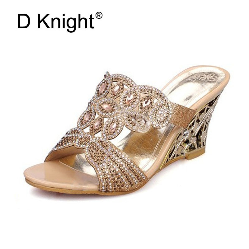 Ladies Casual Open Toe Wedges Slides Luxurious Rhinestone Sandals For Women Female High Heels Crystal Wedge