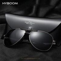 HYBOOM Vintage Aviator lunettes de Soleil Polarisées Hommes Marque Designer De Mode Mâle Pilote Conduite Lunettes de Soleil Noir Shades Rétro Oculos