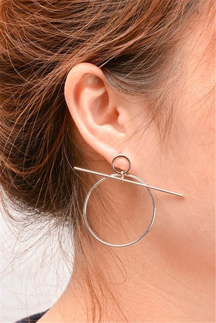 Fashion Simple And Light Weight High Quality Design Female Por Silver Gold Round Shape Ear Dangle