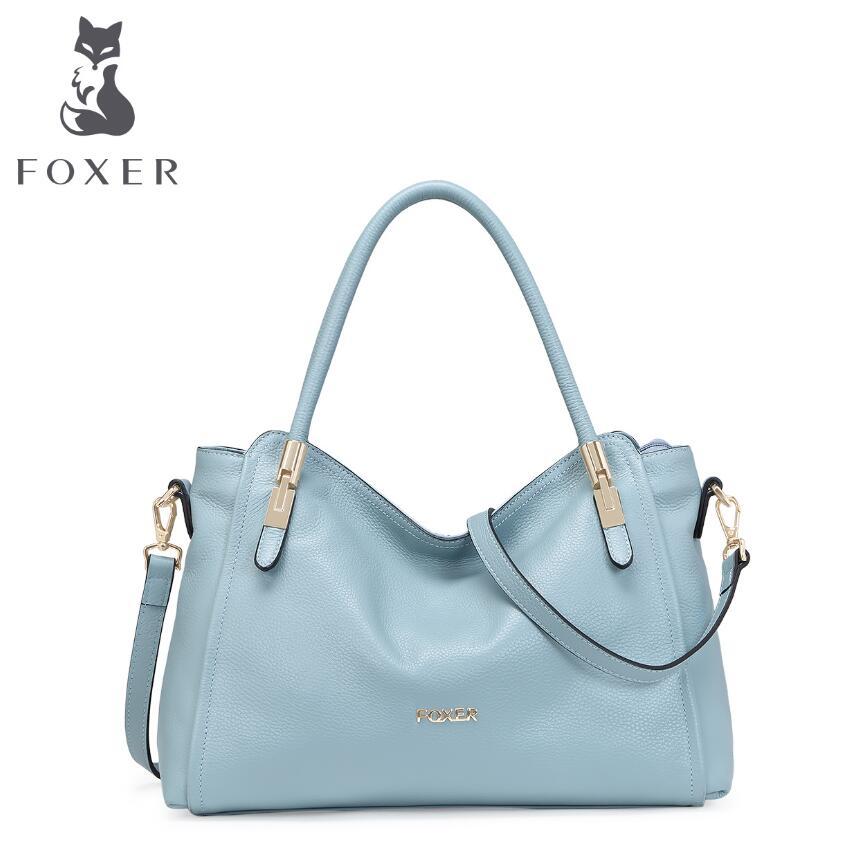 FOXER 2017 new quality women genuine leather bag famous brands quality leather women bag fashion women handbags shoulder bag
