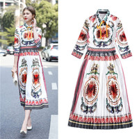 Casual 2018 Brand New Summer Spring Dresses Women Turn Down Collar Dress Half Sleeve Vintage Heart Printed Vestidos Female XL