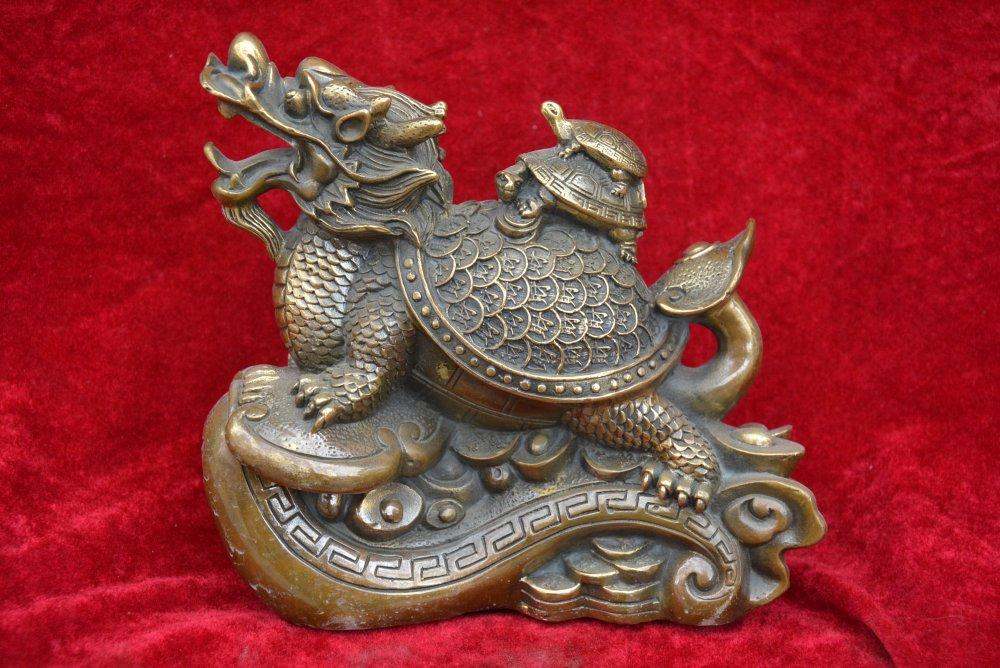 Rare ancienne statue de bête de tortue Dragon en cuivre chinois, décoration, Collection et parure