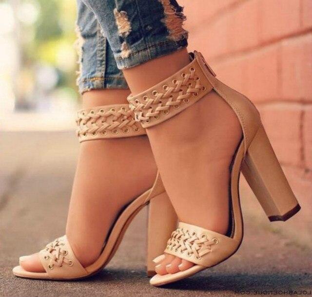 aa9f9362a Sandálias das mulheres bombas senhoras verão PU sapatos zapatos mujer punk  rock chunky sapatos de salto