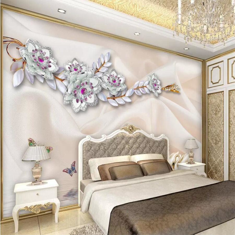 Beibehang Custom Wallpaper 3D Stereo Elegant White Flowers
