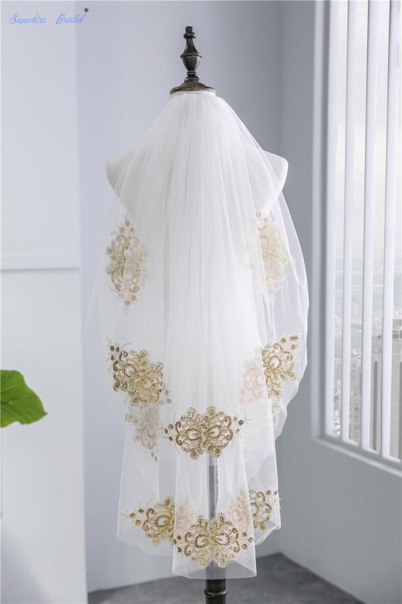 Sapphire Bridal 2 Tiers Short Tulle Veils Velo De Novia White Ivory Veil Gold Lace Tulle Elbow Length Bridal Veils Hot Sale