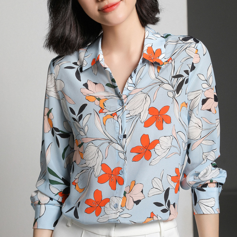 100 Silk Shirt Crepe Women Flower Printed Pure Natural Silk Fabric 2019 New Arrival Office Lady