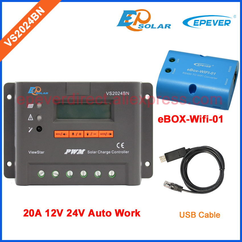 PWM new solar controller ViewStar series VS2024BN with USB communication cable 20A 12V 24V Wifi Connect APP BOX adapter vs3024bn new pwm controller network access computer control can connect with mt50 for communication