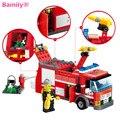 DIY Modelo Fuego Lucha Serie Fire Engine Building Block Sets + 206 pcs Aclare Ladrillos de Construcción de juguetes Educativos