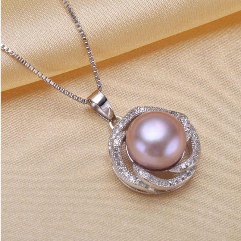 RUNZHUQIYUAN 2017 natürliche süßwasser perle Anhänger Halskette/Ohrringe schmuck-set für frauen 925 sterling silber schmuck