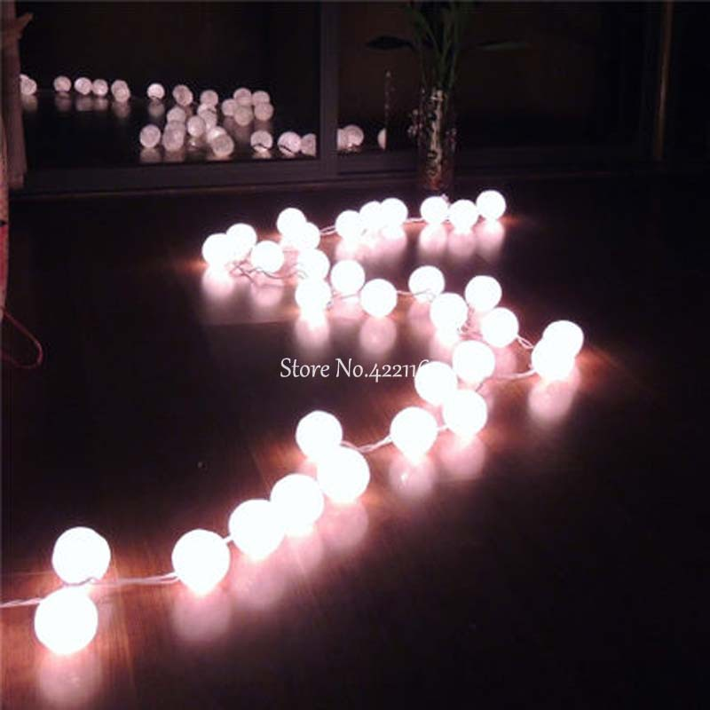 35 White Cotton Ball Lights Navidad Christmas Fairy Garland String