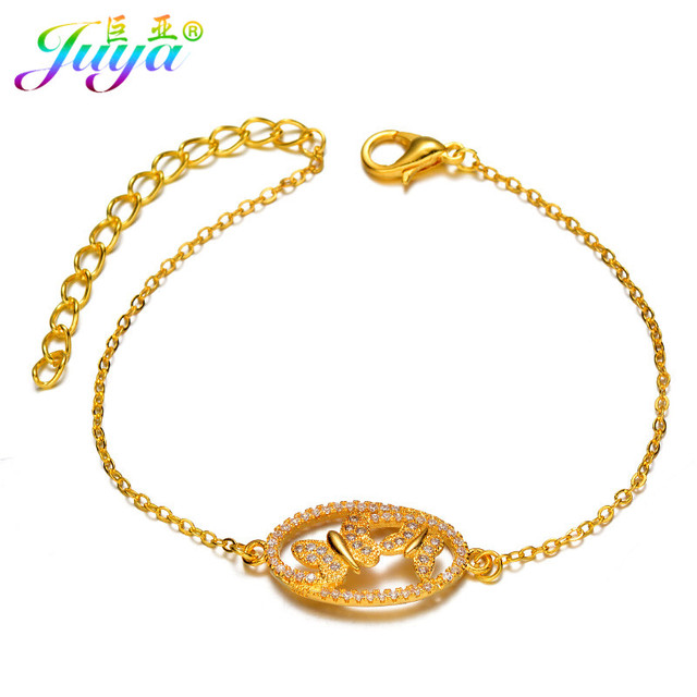 Wholesale Micro Pave Cubic Zirconia Butterfly Connector Charm Bracelets Gold  Chains Women Fashion Bracelets For Christmas Gifts 49290569f2