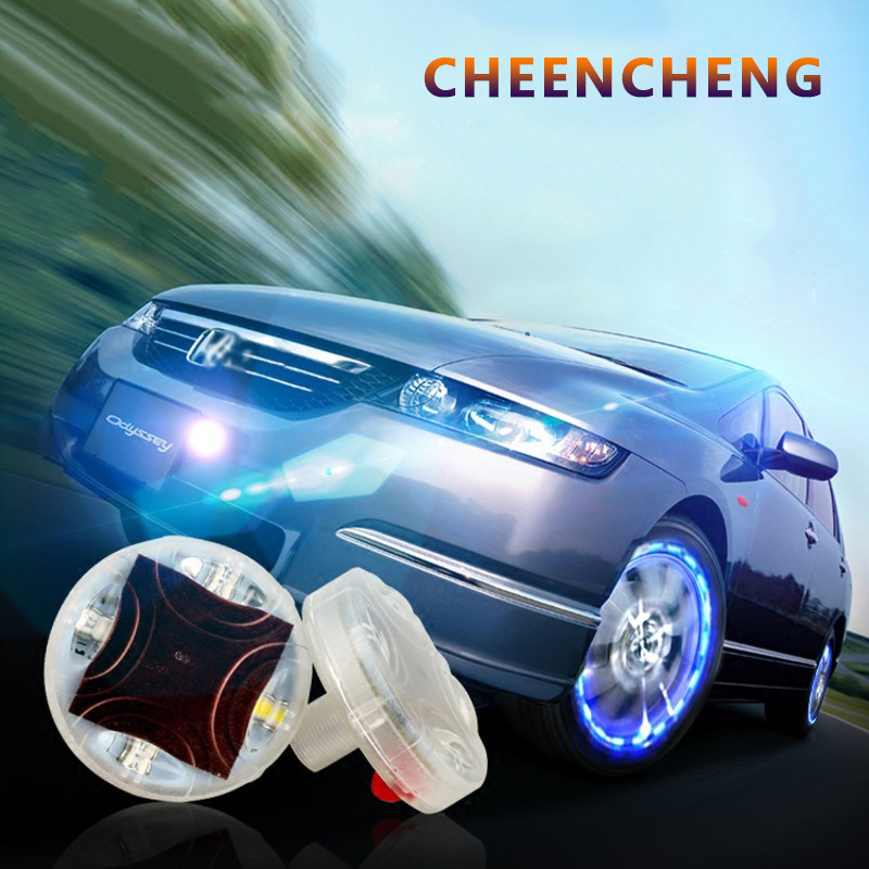 Car Wheel Cube Tire Solar Energy Four LED Lights Decorative Flash Lamp Ambient Light Car Motorcycle Bicycle Style Auto Accessory