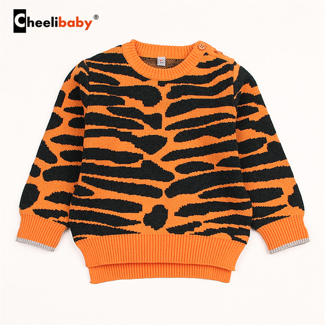 c6faa4dee Black Stripes Winter Sweater Pullovers For Baby Girls Round Neck ...