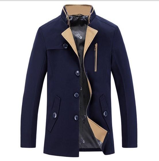 Nova marca de estilo britânico homens Slim Fit casaco jaqueta azul de Manteau Homme primavera masculino casaco para homens
