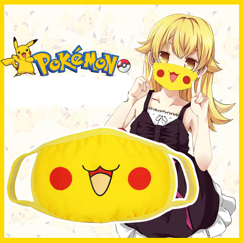 Cute Anime Pocket Monsters Pikachu Cosplay Mouth-muffle Kawaii Anti-Dust Winter Face Mask