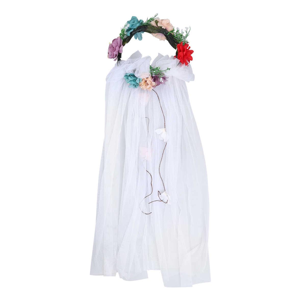 1 pc ウェディングベールと花輪ハロウィンブライダルヘッドドレスウェディングドレスベール人工ローズベールヘアバンド女性のための