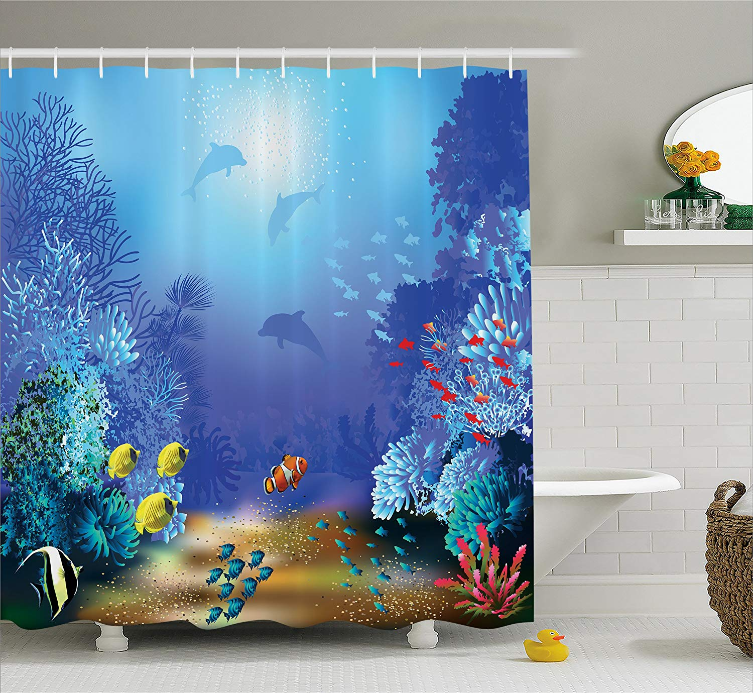 Ocean Animal Decor Shower Curtain And Mat Set, Underwater
