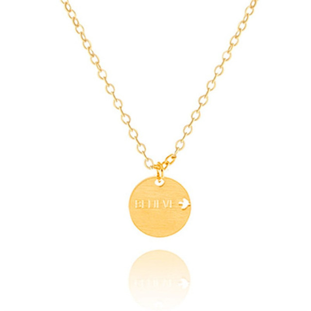 Gorgeous tale gold color chain necklace fashion stainless steel gorgeous tale gold color chain necklace fashion stainless steel silver coin believe engraved necklace circle aloadofball Gallery