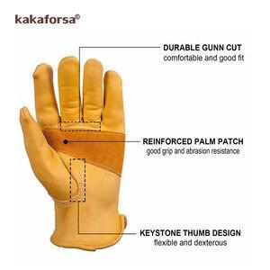 Image 5 - Kakaforsa moda genuíno couro amarelo luvas de inverno dos homens esportes ao ar livre à prova vento luvas quentes dedo cheio correndo luva