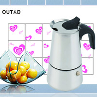 OUTAD 2 4 6 Cup Percolator Stove Top Coffee Maker Moka Espresso Latte Stainless Pot
