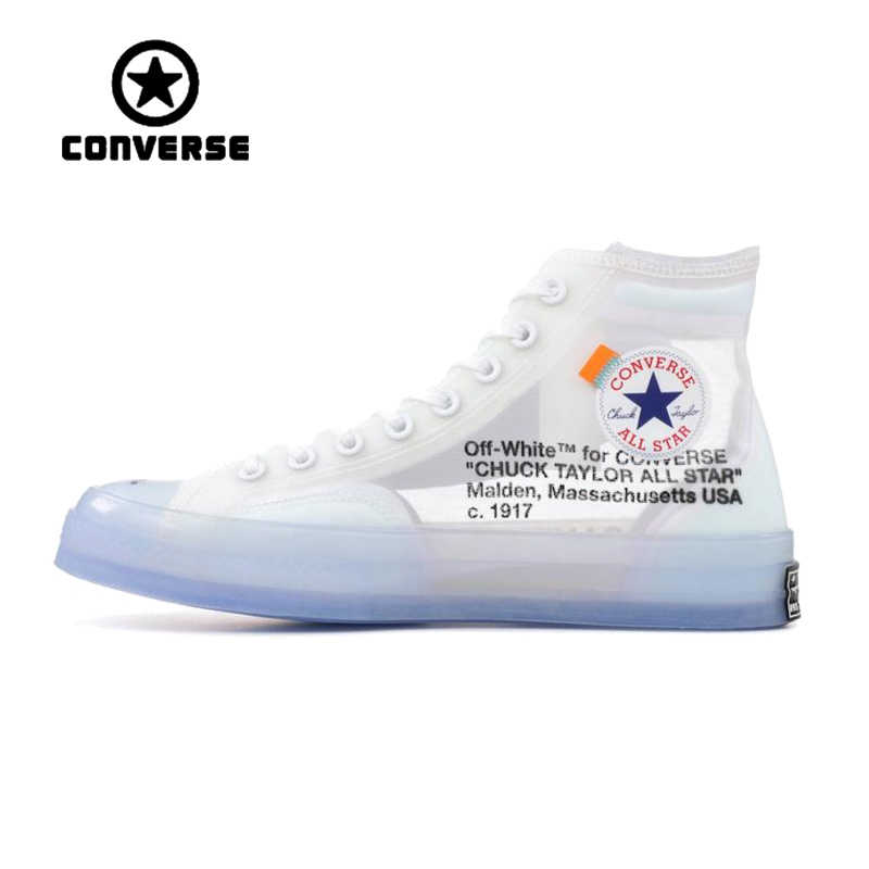 Authentic Converse OFFWHITE 1970s Transparent High Top Skateboarding Shoes  Classic Unisex Anti-Slippery Canvas Sneakser e1551eed3