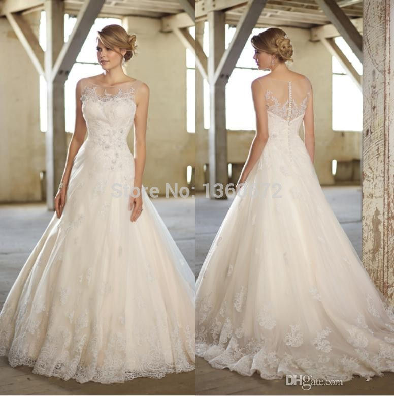 Best selling 2014 new illusion scoop neckline wedding dresses a best selling 2014 new illusion scoop neckline wedding dresses a line appliques 2015 fashion design bride gowns custom made sj38 in wedding dresses from junglespirit Choice Image