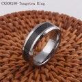Tungsten Steel Wedding Band Tungsten Ring with Black Carbon Fiber Design Confort Fit