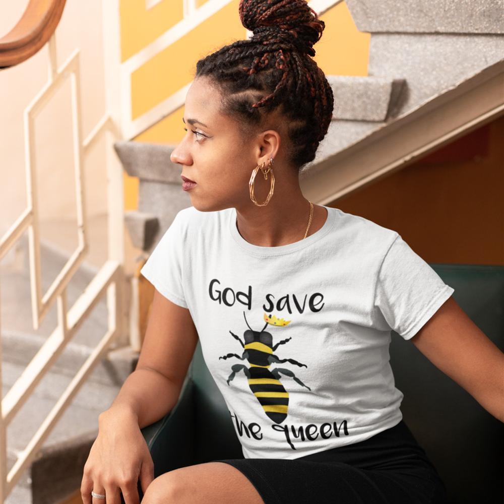 US $10 99 40% OFF|God Save The Queen T Shirt God Save The Queen Bees T  Shirt Cotton Red Women tshirt Simple O Neck Graphic Ladies Tee Shirt-in