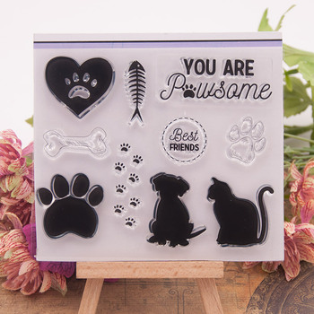 Sello de silicona transparente pata perro gato hueso para sellar álbum para recortes de fotos hojas de sellos transparentes decorativas