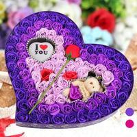 ห้องน้ำบริษัทโกลว์สบู่ดอกไม้หมีรูปหัวใจกล่องกลีบกุหลาบสำหรับวันวาเลนไทน์ตกแต่งดอกไม้100...