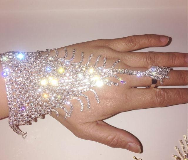 aa7b8781c1a Crystal Rhinestone Bracelet Slave Cuff Attached Ring Set Wedding Hand Chain  Jewelry Bridal Bangle Decoration Belly Dance