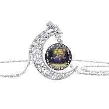 New hollow moon time pendant half animal zodiac amulet lucky necklace cartoon anime 12 constellation logo crescent