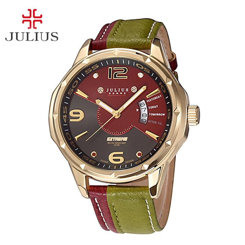 Топ Юлий человек Для мужчин мужские наручные часы Японии кварцевых часов Авто Дата хит смешивания Цвет модные кожаные мальчик ретро подаро...
