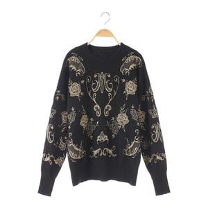 Image 2 - 2020 inverno runway designer preto camisola pullovers feminino luxo floral impressão feminino natal malha camisola jumper roupas