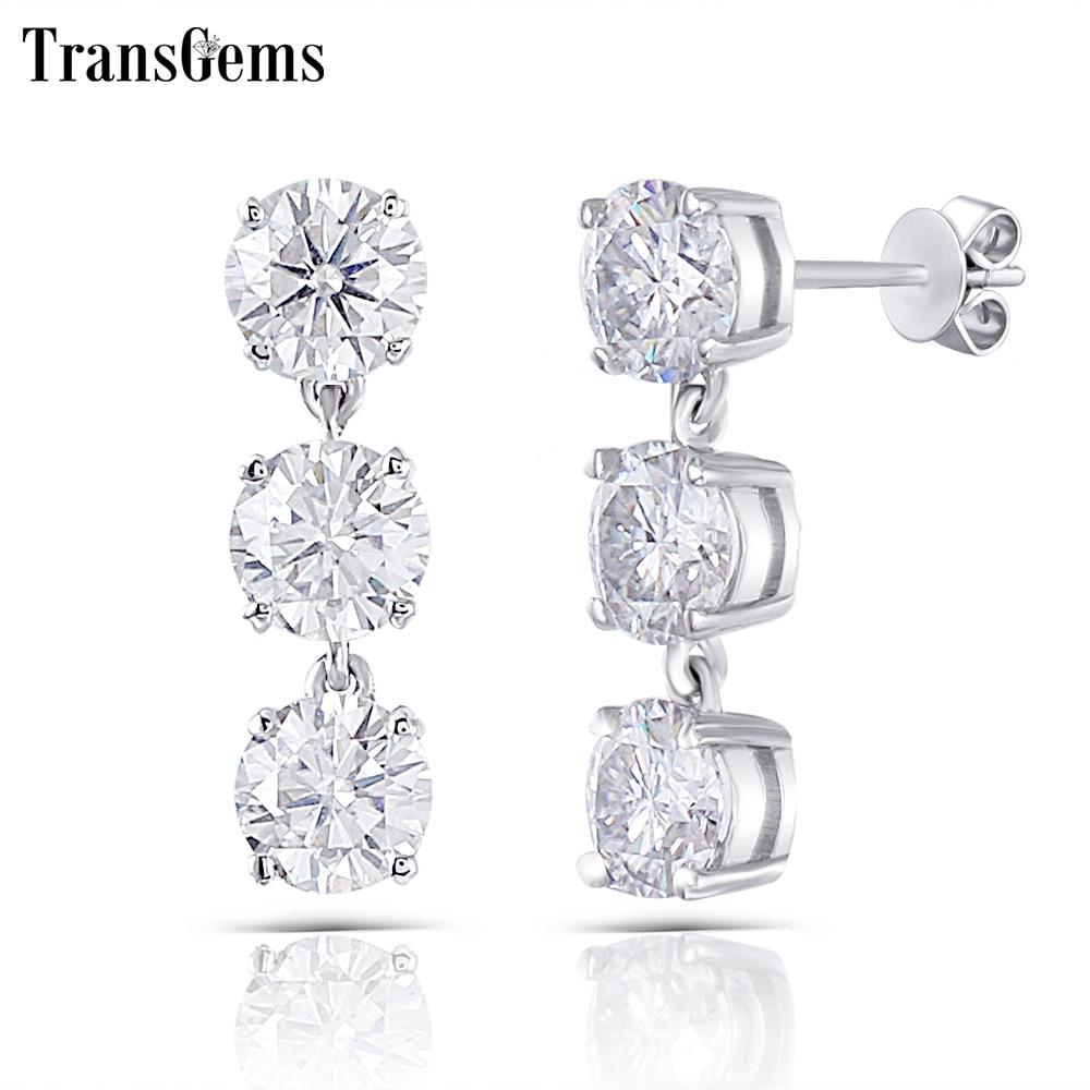 Transgems 14K 585 White Gold 3CTW 5mm FG Color Clear Moissanite Three Stone Drop Earrings Push