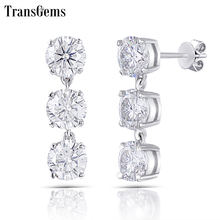 Transgems 14K 585 White Gold 3CTW 5mm FG Color Clear Moissanite Three Stone Drop Earrings Push Back for Women