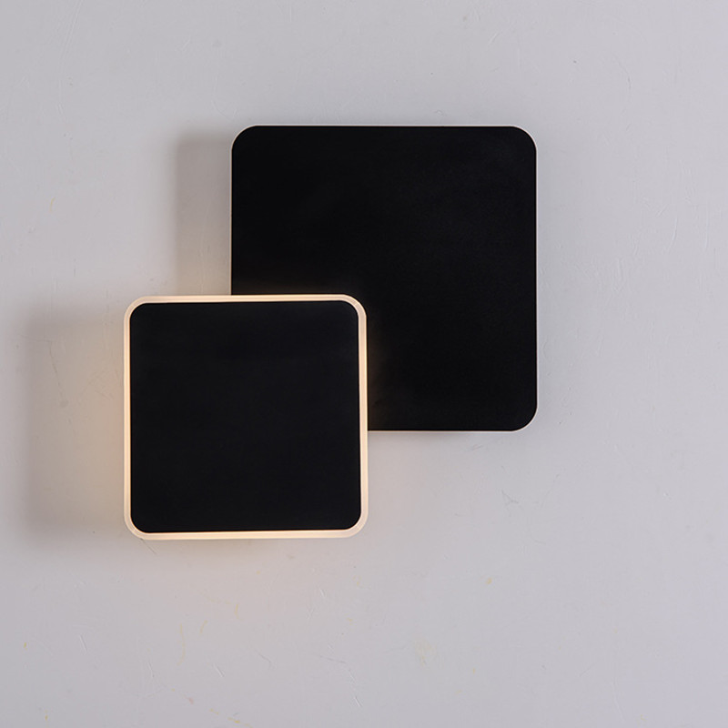 Black/ White Modern Loft Cearative Bedroom Wall Light Removable Square Study Aisle Light Led Wall Sconce Free Shipping