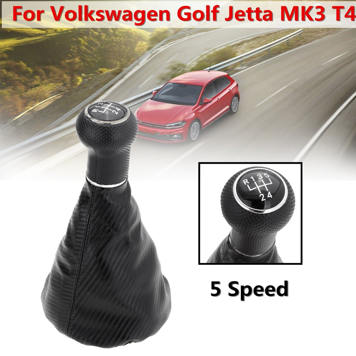 5 Speed Car <font><b>Gear</b></font> Shift <font><b>Knob</b></font> Gaiter Boot For <font><b>VW</b></font> <font><b>Golf</b></font> <font><b>MK3</b></font> T4 Carbon Fiber Leather <font><b>Gear</b></font> Shift <font><b>Knobs</b></font> Cover image