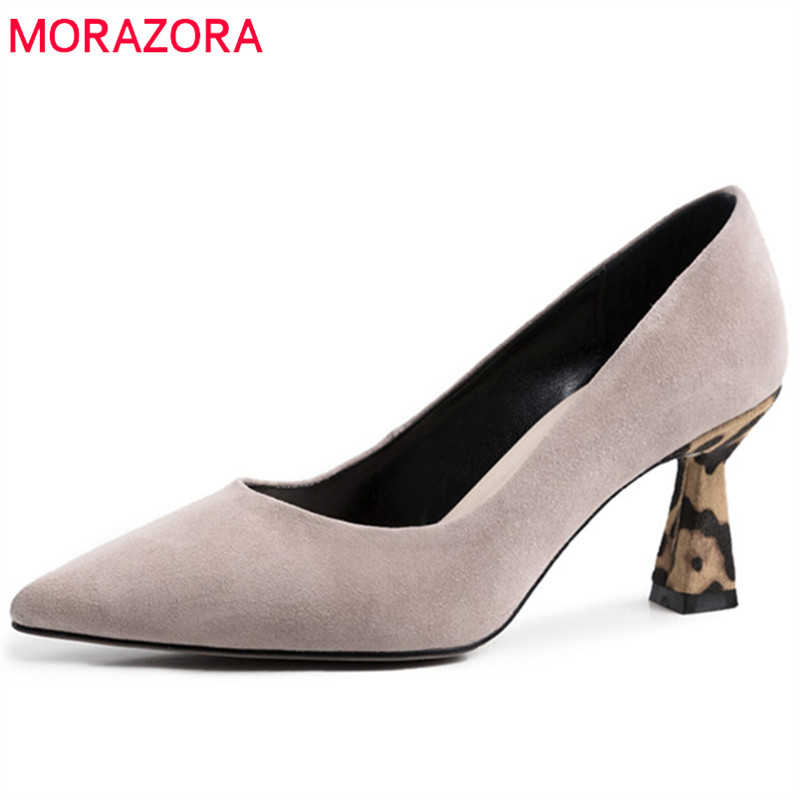 MORAZORA 2019 top quality kid suede leather women pumps shallow elegant high heels shoes spring summer office ladies shoesMORAZORA 2019 top quality kid suede leather women pumps shallow elegant high heels shoes spring summer office ladies shoes