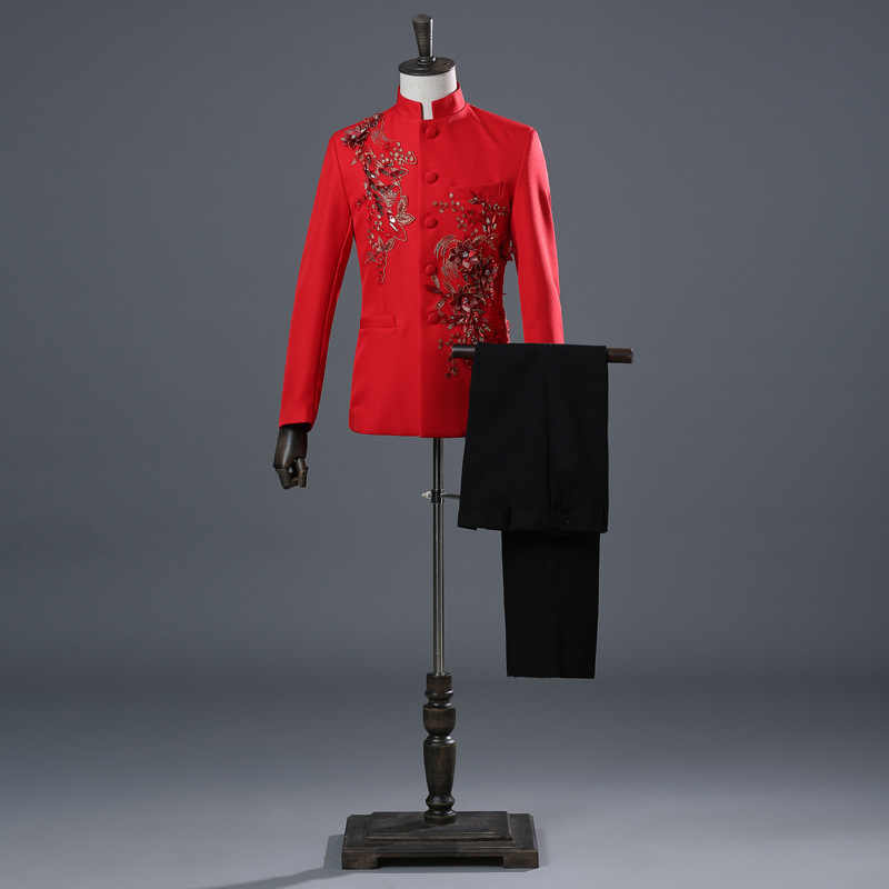 レッドホワイトブルーブラックアップリケスパンコールクリスタルブレザースタンド襟男性のスーツ合唱ドレスステージ歌手コーラスホスト衣装
