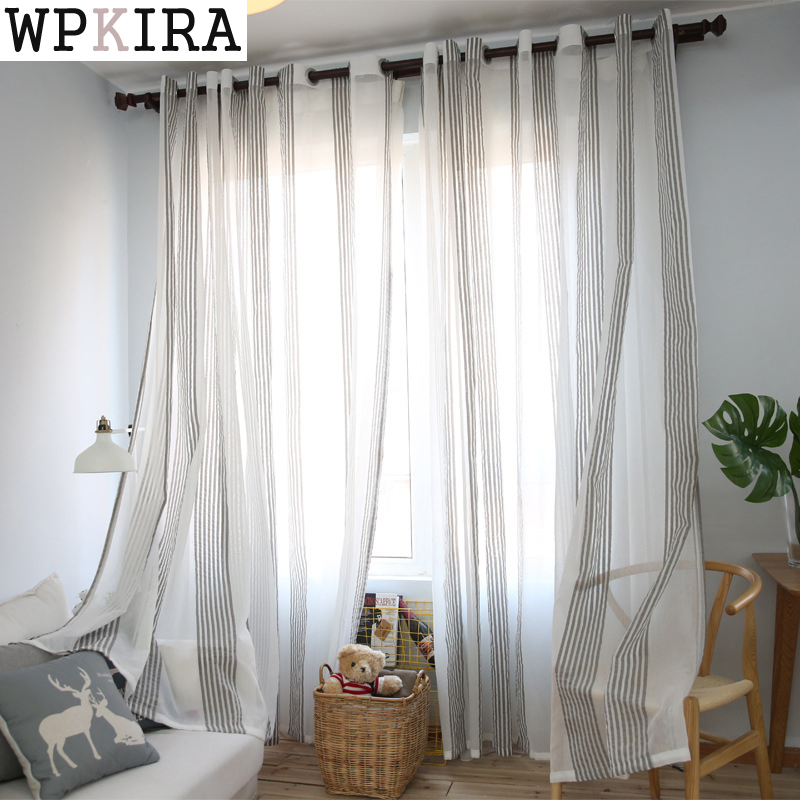 Sheer Linen Curtains Grey Linen Curtains And: Gray Linen Sheer Tulle Curtains For Living Room Stripe
