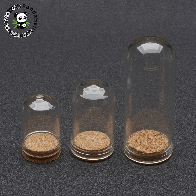 100pcs Transparnet Glass Column Bottles Clear Bell Shape With Tampions For Jewelry Packaging, Decoration Jars