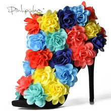 Colorful Flowers Open Toe Boot