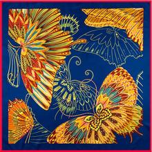Colorful Butterflies Digital Printing Pure Twill Silk 100cm Square Scarf Women Scarf Brand Scarves Foulard Jacquard Shawl