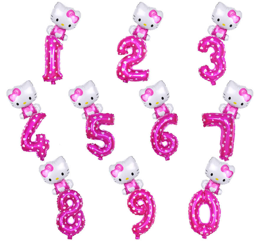 e09cd8de4 Detail Feedback Questions about 32inch gold red pink blue Number foil  Balloon hello Kitty Balloon figure 0 9 years kid baby shower Birthday Party  decor on ...