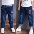 Корейский мальчики девочки Джинсы брюки дети джинсовые брюки и джинсы 2017 новой детской одежды
